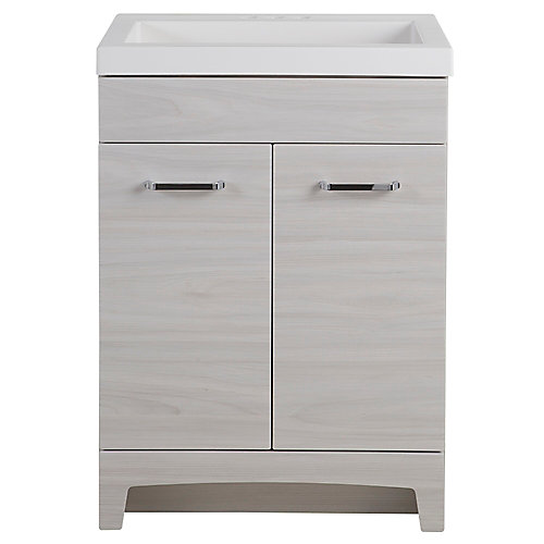 Stancliff 24.5-inch W Vanity in Elm Sky with Cultured Marble Vanity Top in Grey and Mirror