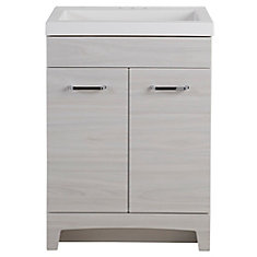 Stancliff 24.5-inch W Vanity in Elm Sky with Cultured Marble Vanity Top in White and Mirror