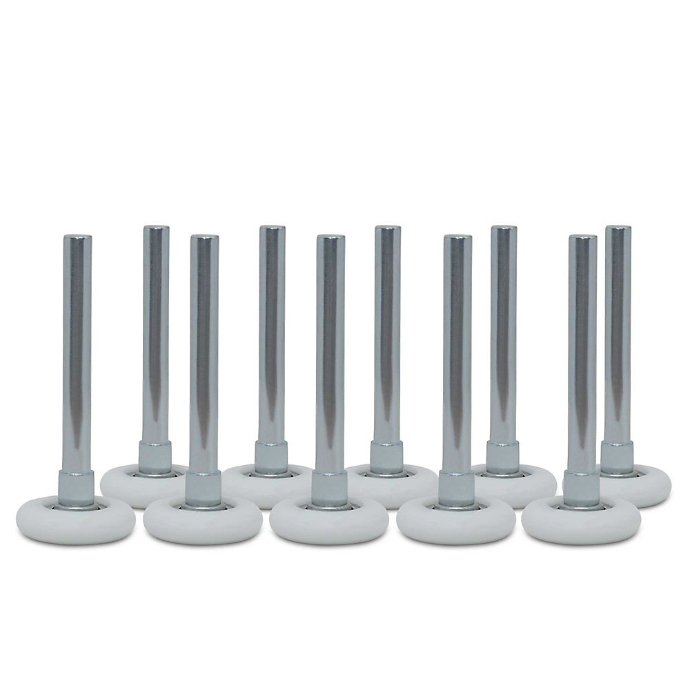 Roulettes pour porte de garage à roulement à billes avec tiges, 2po et 4po, ens. de 10