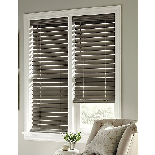 Home Decorators Collection 48-inch x 48-inch Cordless 2.5-inch Faux Wood Slat Blind in Grey