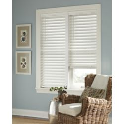 Home Decorators Collection 2.5-inch Cordless Faux Wood Blind White 72-inch x 72-inch (Actual width 71.625-inch)