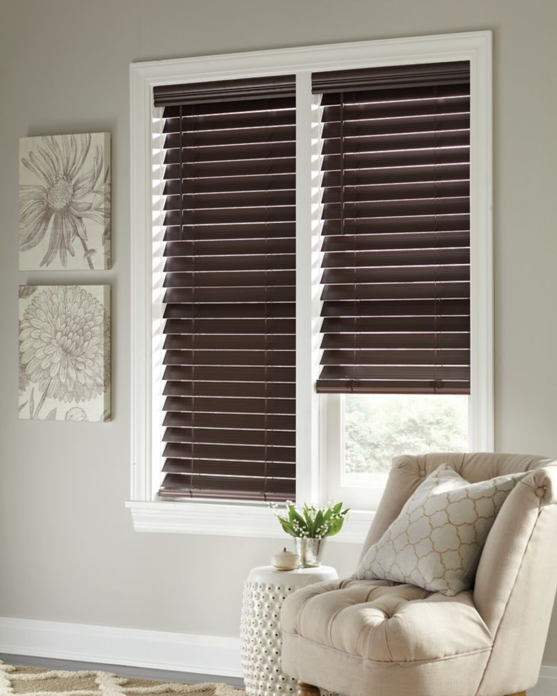 Home Decorators Collection 2.5-inch Cordless Faux Wood Blind Espresso 48-inch x 48-inch (Actual width 47.625-inch)