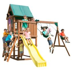 Swing-N-Slide Altamont Complete Wood Playset with Swings, Trapeze, Rings, Climbing Wall, Slide, and Picnic Table