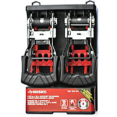 1 1/2-inch x 16 ft. Ratchet Tie-Down with Double J-Hook (2-Pack)