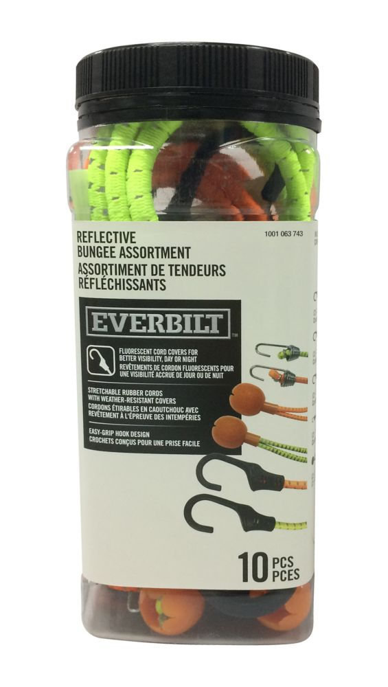 Everbilt 10 pcs Reflective Bungee Assortment