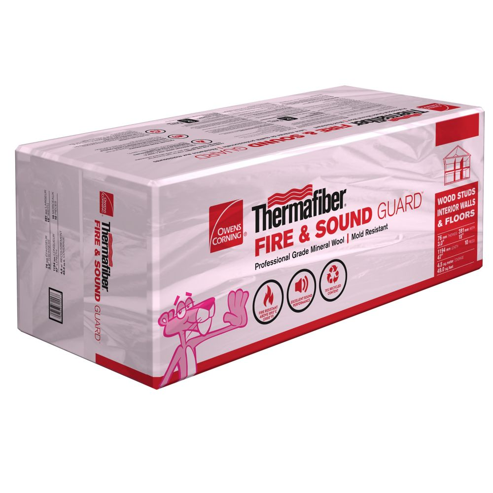 Owens corning r 14 ecotouch pink fiberglas insulation 15 for Rockwool sound insulation