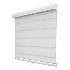 Cordless 46 Inch x 72 Inch White Zebra Layered Roller Shades