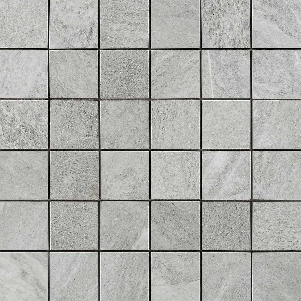 Riverstone Gray 12-inch X 12-inch Ceramic Mosaic Tile