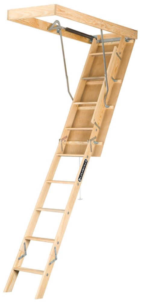 Louisville Ladder Premium Series 7  Feet - 8  Feet 9  Inch, 22.5 Inch x 54  Inch Wood Attic Ladder with 250 lb. Maximum Load Capacity