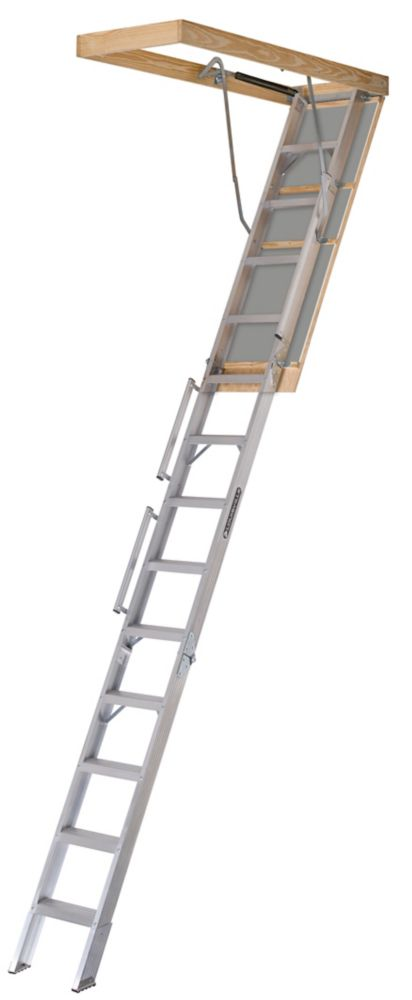 Everest Series 10  Feet - 12  Feet, 22.5  Inch x 63  Inch Aluminum Attic Ladder with 350 lb. Load Capacity