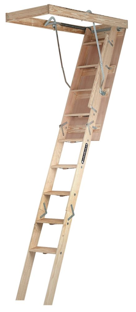 Louisville Ladder Champion Series 8  Feet 9  Inch - 10  Feet, 22.5  Inch x 54  Inch Wood Attic Ladder with 300 lbs. Maximum Load Capacity