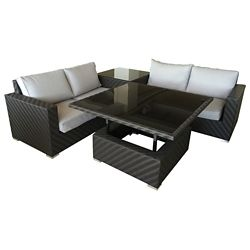 F.Corriveau International Mumbai 4-Piece Patio Dining Set in Coffee