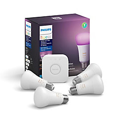 Hue White & Color Ambiance A19 Starter Kit (4-Pack)