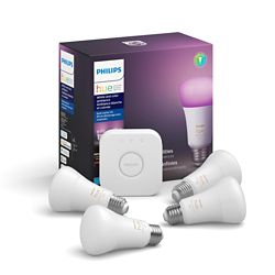 Philips Hue White & Color Ambiance A19 Starter Kit (4-Pack)