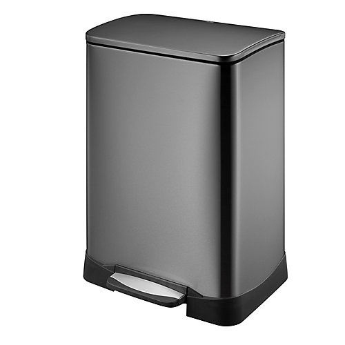 50L Black Stainless Steel Step Trash Can