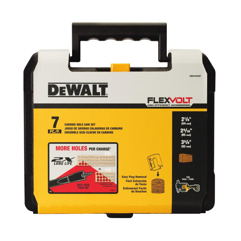 DEWALT FLEXVOLT 7 Piece Carbide Wood Drilling Hole Saw