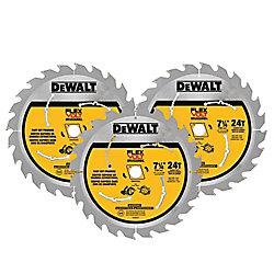 DEWALT FLEXVOLT 7-1/4-inch 24-Teeth Carbide-Tipped Circular Saw Blade (3-Pack)