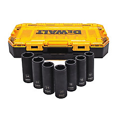 7 Piece 1/2 in Drive Deep Impact Socket Set