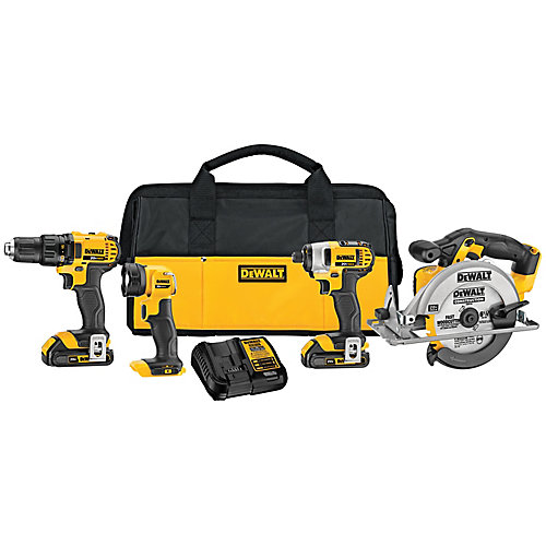 20V MAX Lithium-Ion Cordless Combo Kit (4-Tool) with (2) Batteries 2.0Ah, Charger and Tool Bag