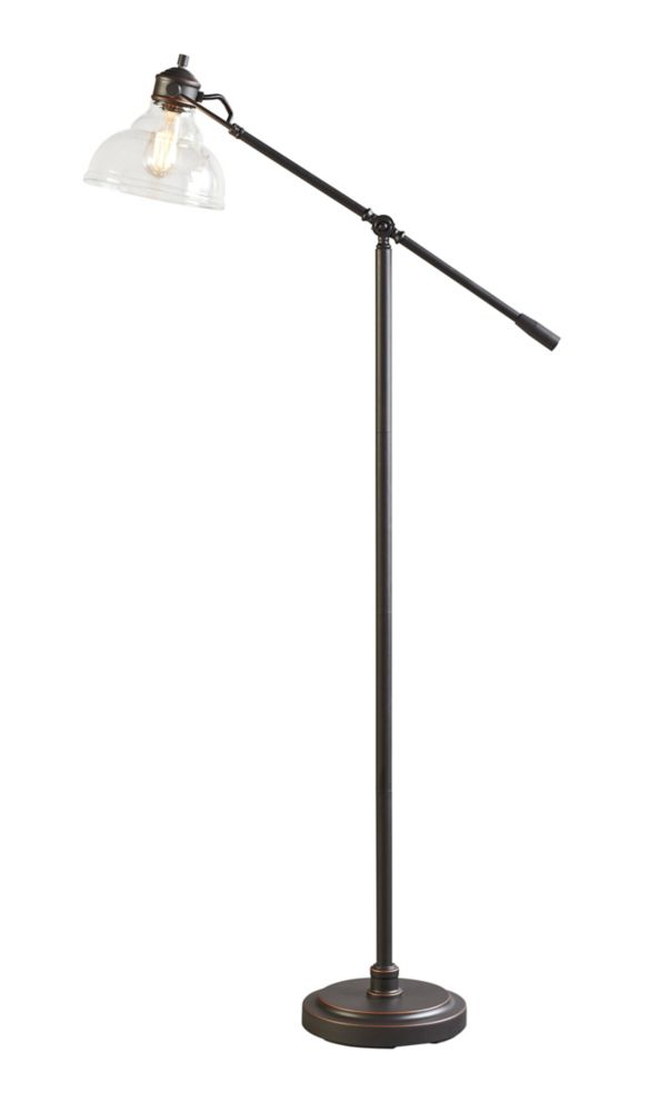 Glass shade articulating floor lamp