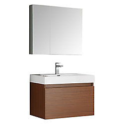 Fresca Mezzo 29.50-inch W 2-Drawer Wall Mounted Vanity in Brown With Acrylic Top in White With Faucet