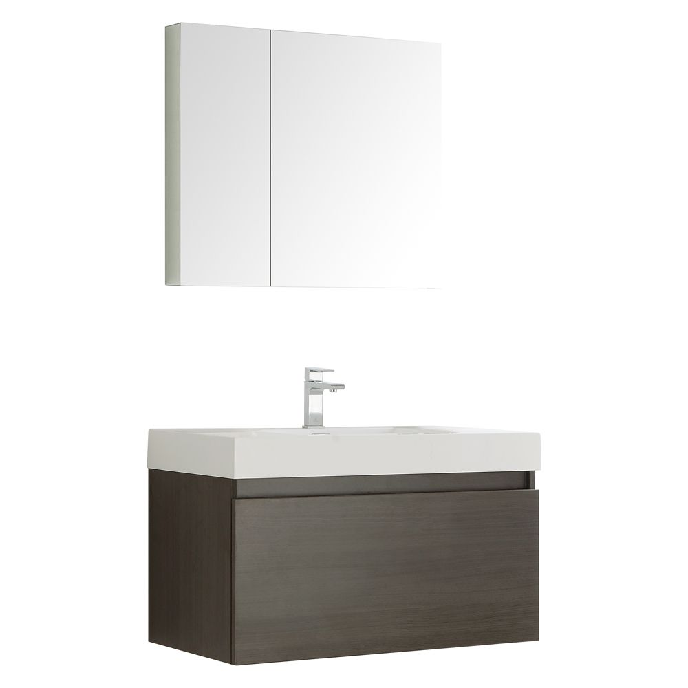 Fresca Mezzo 35.40-inch W 2-Drawer Wall Mounted Vanity in Grey With Acrylic Top in White With Faucet