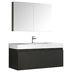 Fresca Mezzo 47.30-inch W 2-Drawer Wall Mounted Vanity in Black With Acrylic Top in White With Faucet