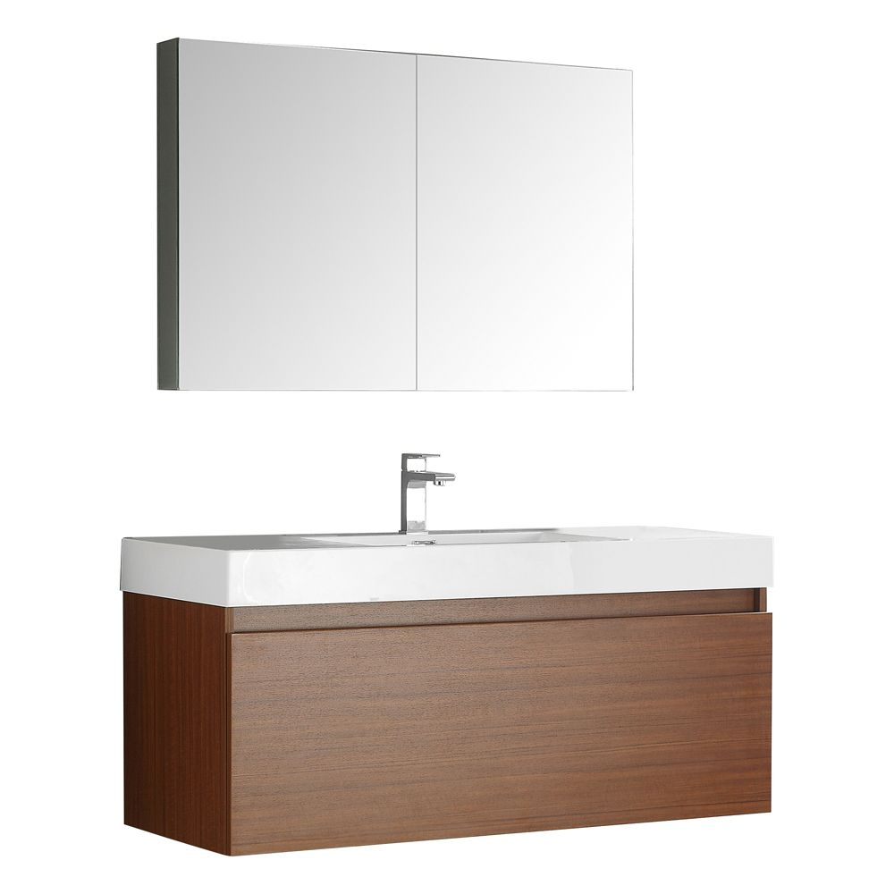Fresca Nano 23 1 2 Inch W Vanity In Teak Finish With Medicine Cabinet The Home Depot Canada
