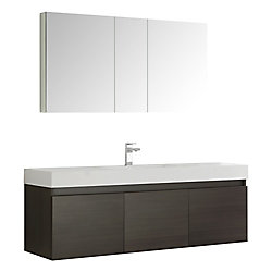 Fresca Mezzo 59-inch W 6-Drawer Wall Mounted Vanity in Brown With Acrylic Top in White With Faucet