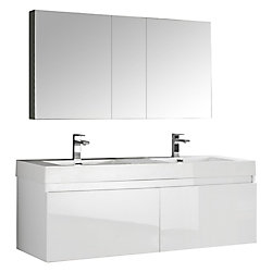 Fresca Mezzo 59-inch W 4-Drawer Wall Mounted Vanity in White With Acrylic Top in White, Double Basins