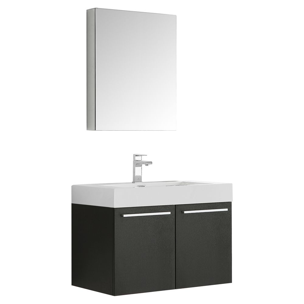 Fresca Vista 29.50-inch W 2-Door Wall Mounted Vanity in Black With Acrylic Top in White With Faucet