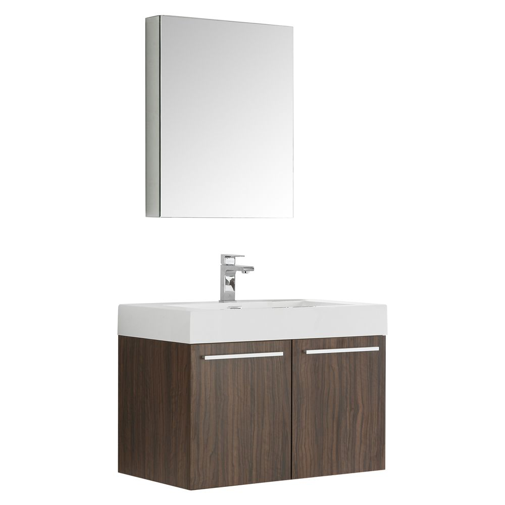 Fresca Vista 29.50-inch W 2-Door Wall Mounted Vanity in Brown With Acrylic Top in White With Faucet