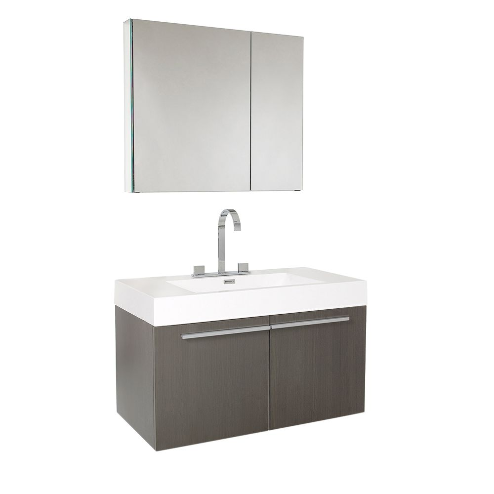Fresca Vista 35.38-inch W 2-Door Wall Mounted Vanity in Grey With Acrylic Top in White With Faucet