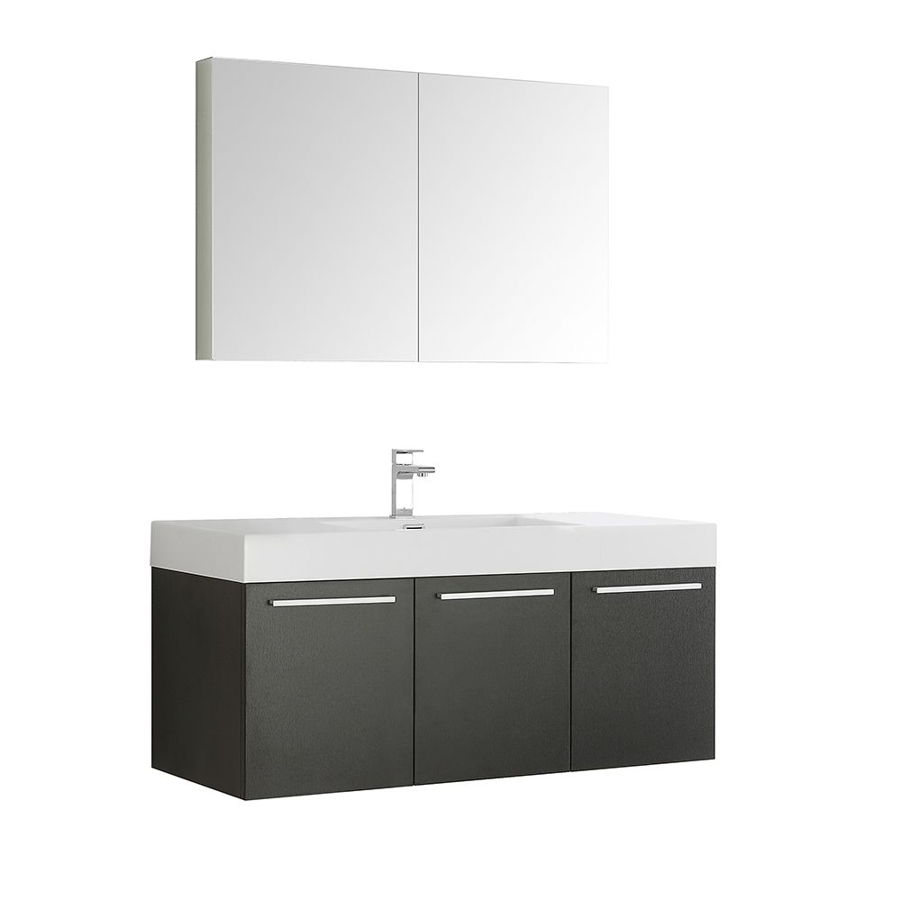 Fresca Vista 47.30-inch W 3-Door Wall Mounted Vanity in Black With Acrylic Top in White With Faucet