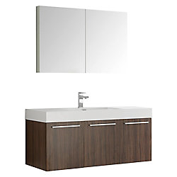 Fresca Vista 47.30-inch W 3-Door Wall Mounted Vanity in Brown With Acrylic Top in White With Faucet