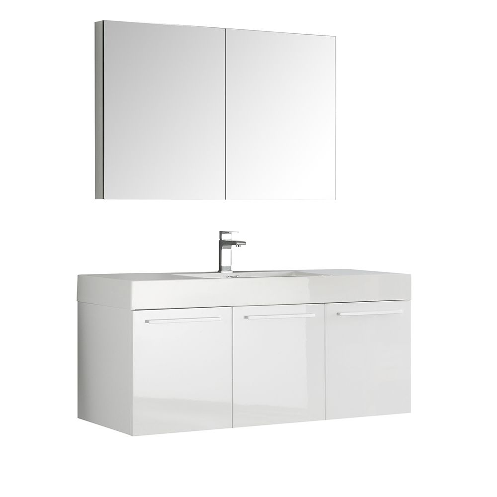 Fresca Vista 47.30-inch W 3-Door Wall Mounted Vanity in White With Acrylic Top in White With Faucet