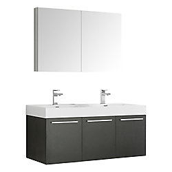 Fresca Vista 47.30-inch W 3-Door Wall Mounted Vanity in Black With Acrylic Top in White, Double Basins