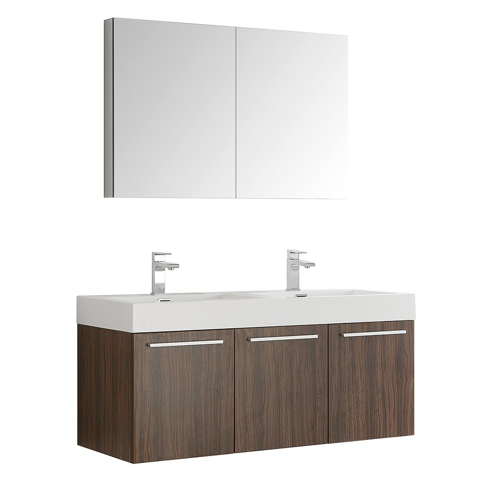 Fresca Vista 47.30-inch W 3-Door Wall Mounted Vanity in Brown With Acrylic Top in White, Double Basins
