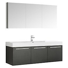 Vista 59-inch W 3-Door Wall Mounted Vanity in Black With Acrylic Top in White With Faucet