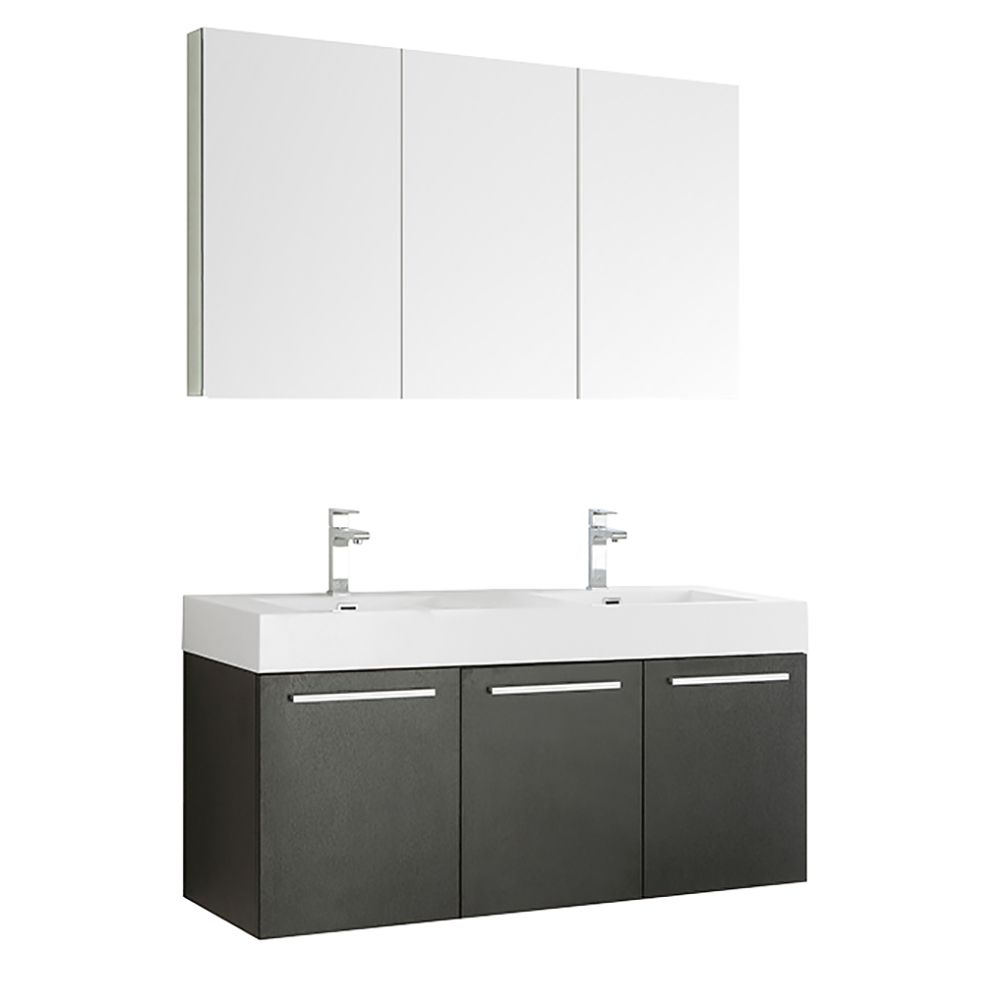 Fresca Vista 59-inch W 3-Door Wall Mounted Vanity in Black With Acrylic Top in White, Double Basins