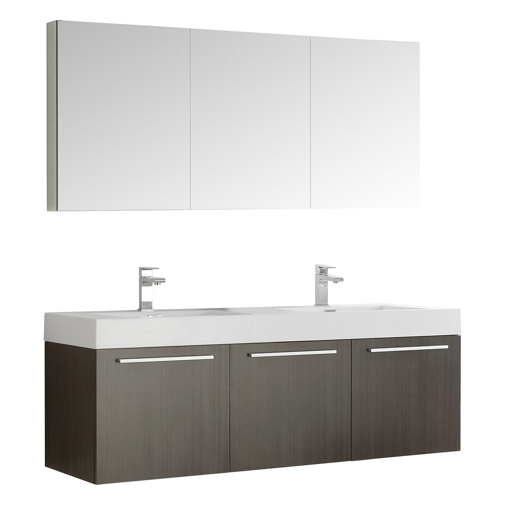 Fresca Vista 59-inch W 3-Door Wall Mounted Vanity in Grey With Acrylic Top in White, Double Basins