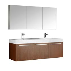 Fresca Vista 59-inch W 3-Door Wall Mounted Vanity in Brown With Acrylic Top in White, Double Basins