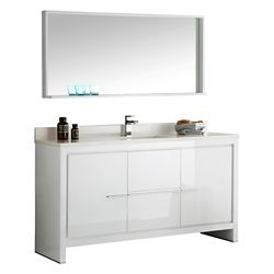 Fresca Allier 60-inch W 2-Drawer 2-Door Vanity in White With Ceramic Top in White With Faucet And Mirror