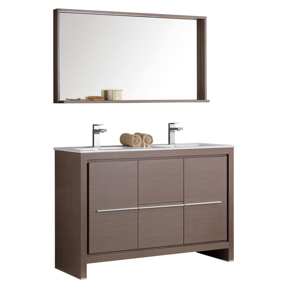 Fresca Allier 47.25-inch W 2-Drawer 2-Door Vanity in Grey With Ceramic Top in White, Double Basins