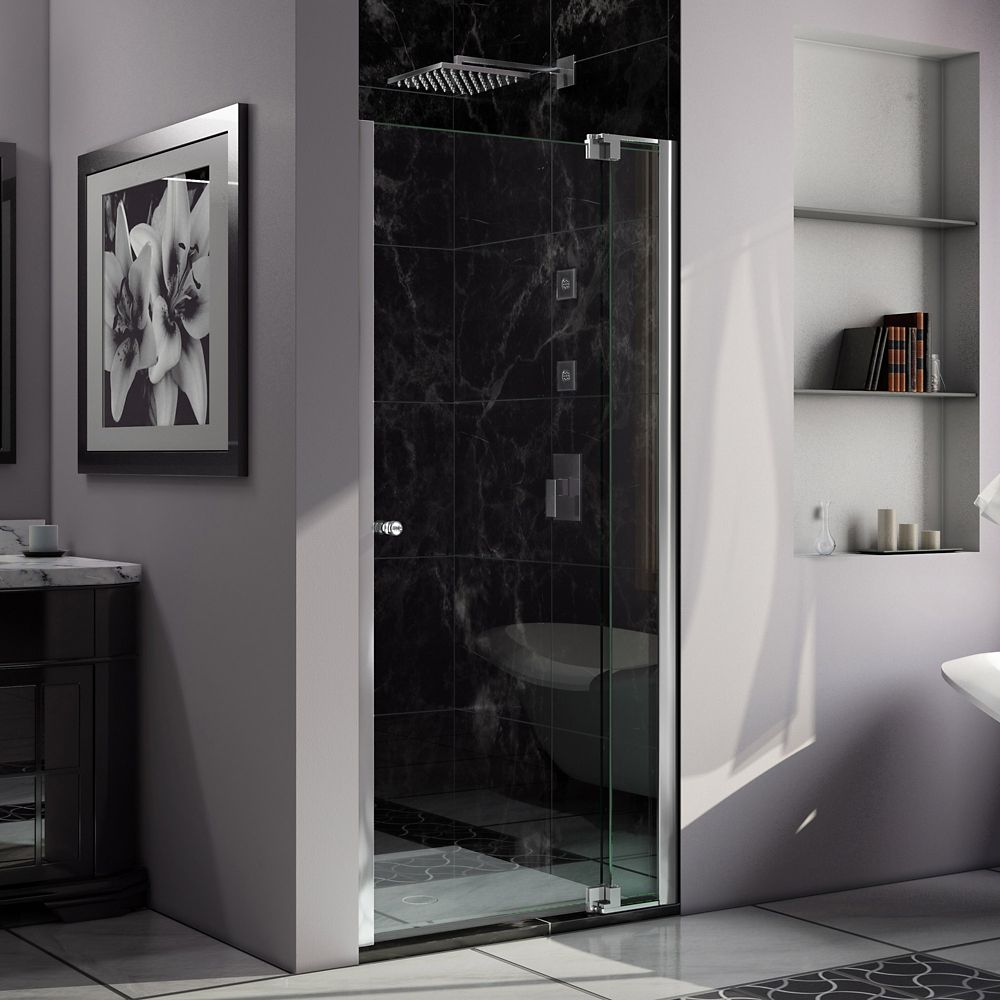 Allure 43-inch x 73-inch Frameless Rectangular Pivot/Hinged Clear Shower Door with Chrome Hardware