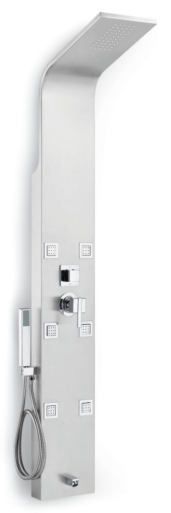 GLACIER BAY 4-Function Shower Panel with Rainfall Showerhead & Hand Shower in Stainless Steel