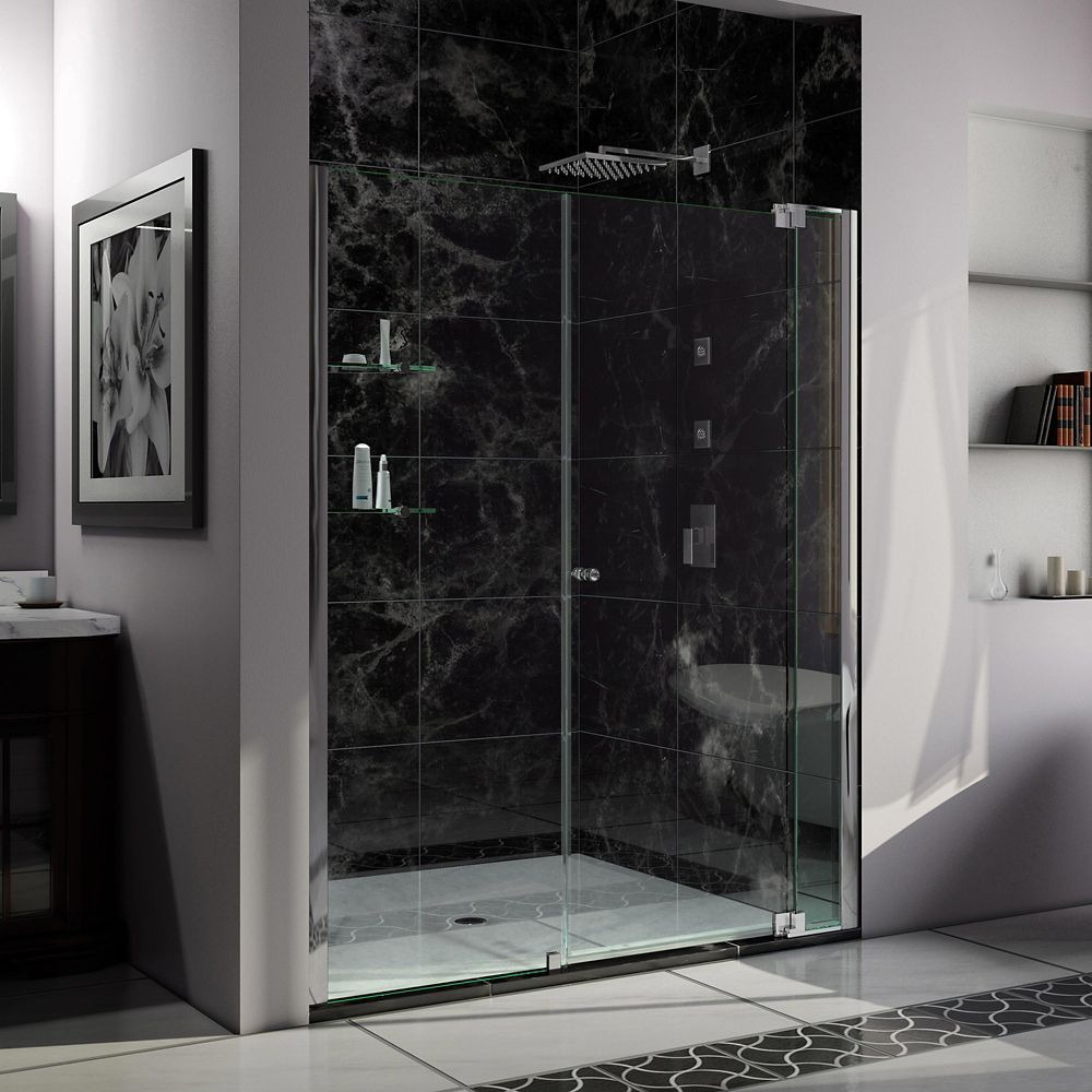 DreamLine Allure 61-inch x 73-inch Frameless Rectangular Pivot/Hinged Clear Shower Door with Chrome Hardware