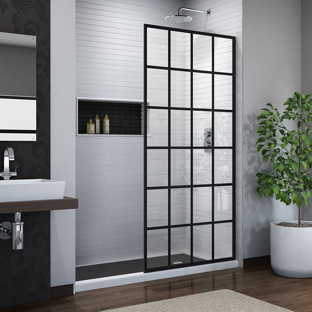 French Linea Toulon 34-inch x 72-inch Frameless Rectangular Shower Door in Patterned & Shower Doors | The Home Depot Canada