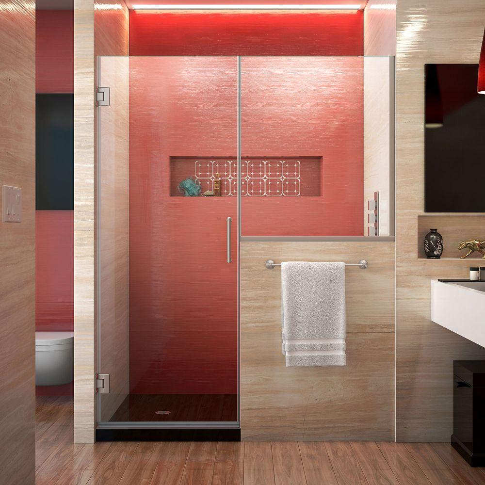 Unidoor Plus 47.50-inch x 72-inch Frameless Rectangular Clear Shower Door with Brushed Nickel Accent