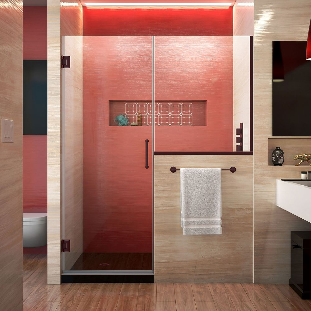 DreamLine Unidoor Plus 59.50-inch x 72-inch Frameless Rectangular Clear Shower Door with Bronze Hardware